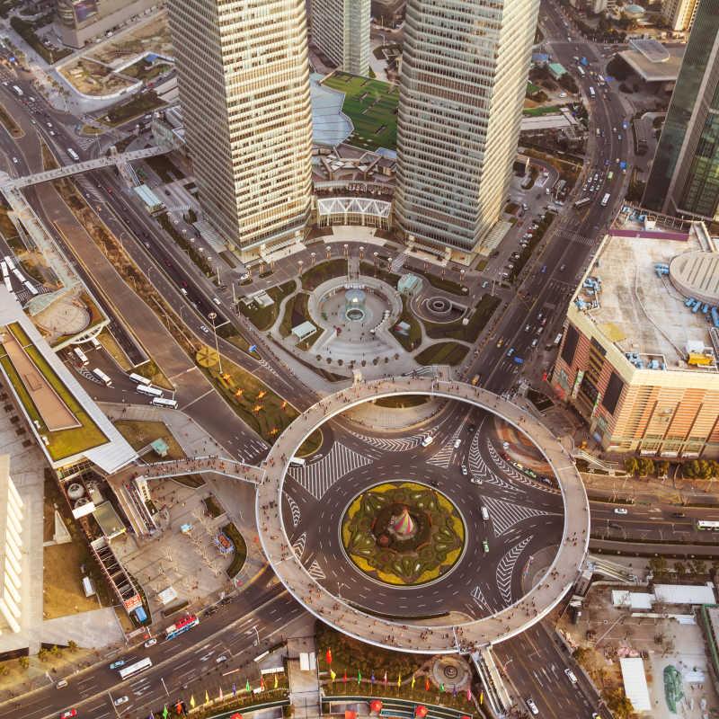 高空拍摄的城市照片