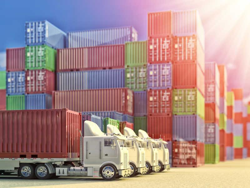 进出口经营物流理念集装箱货场和货运集装箱在工业港堆场