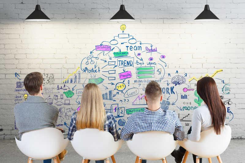 商业4人团队合作的概念