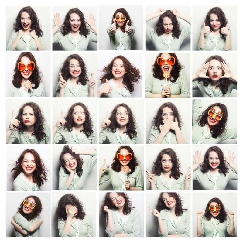 不同的肤色人们面部微笑的表情拼贴图片