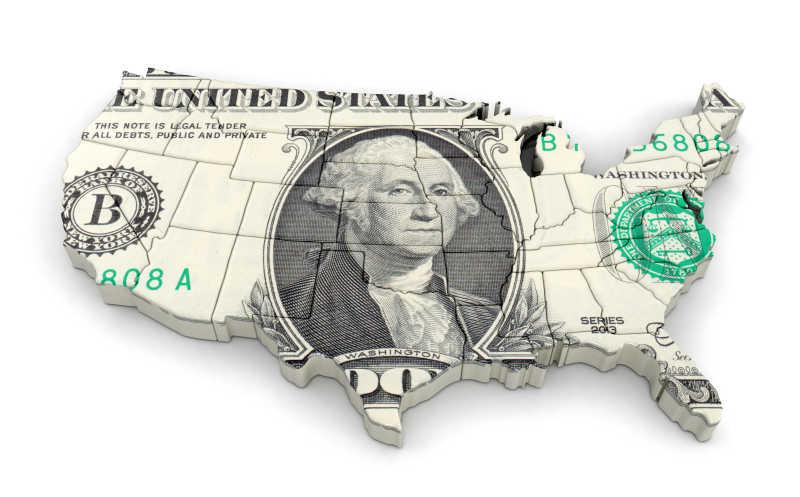 白色背景下美元覆盖的美国地图板块