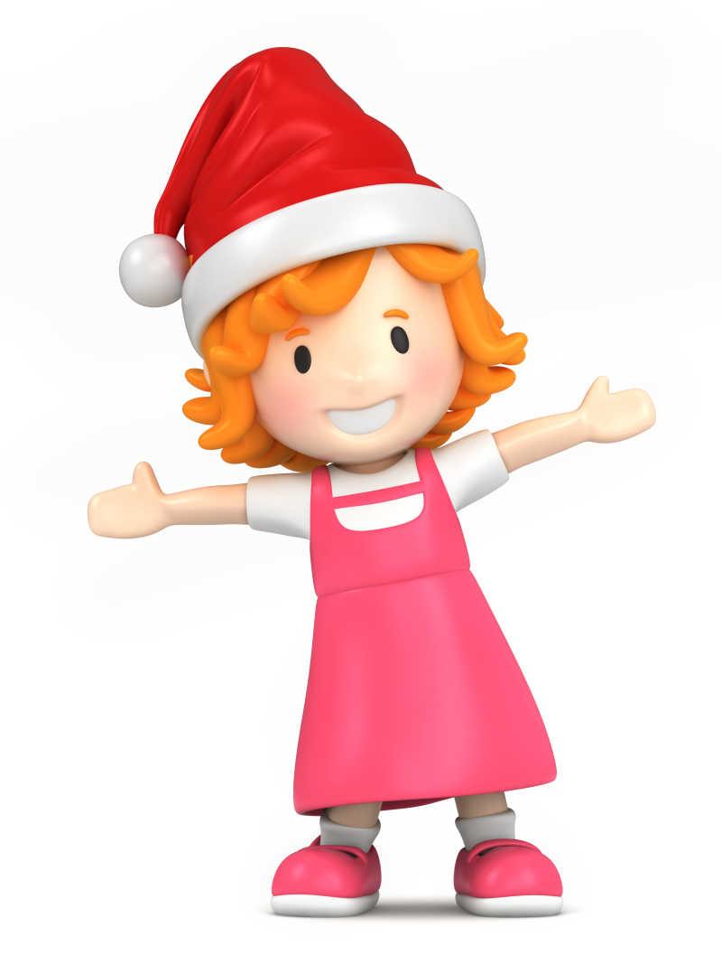 戴飞行员帽子的可爱卡通女孩矢量插图