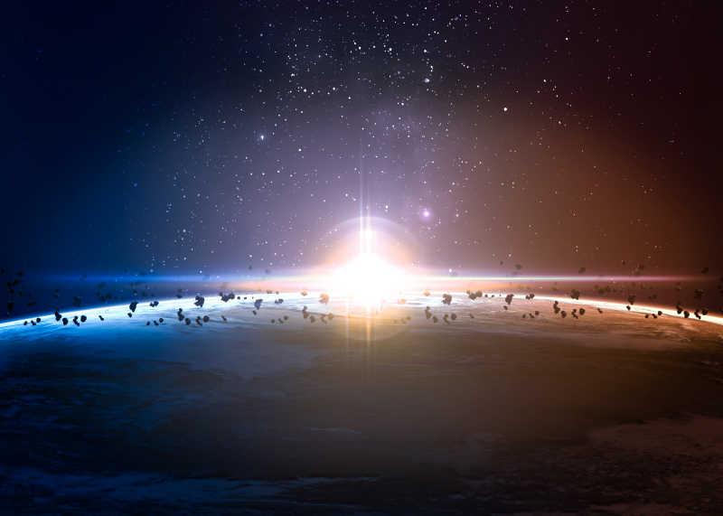 太空中飘在星球表面的陨石