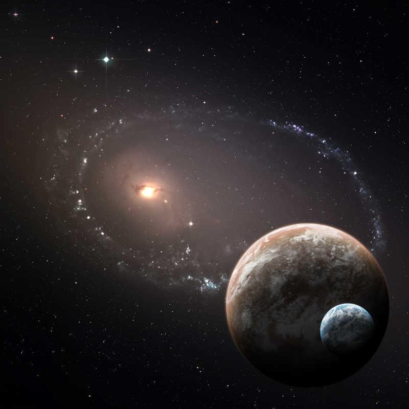 浩瀚宇宙中的地球与小行星