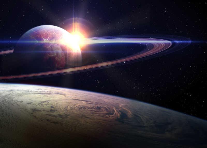 太空中的星球与日出