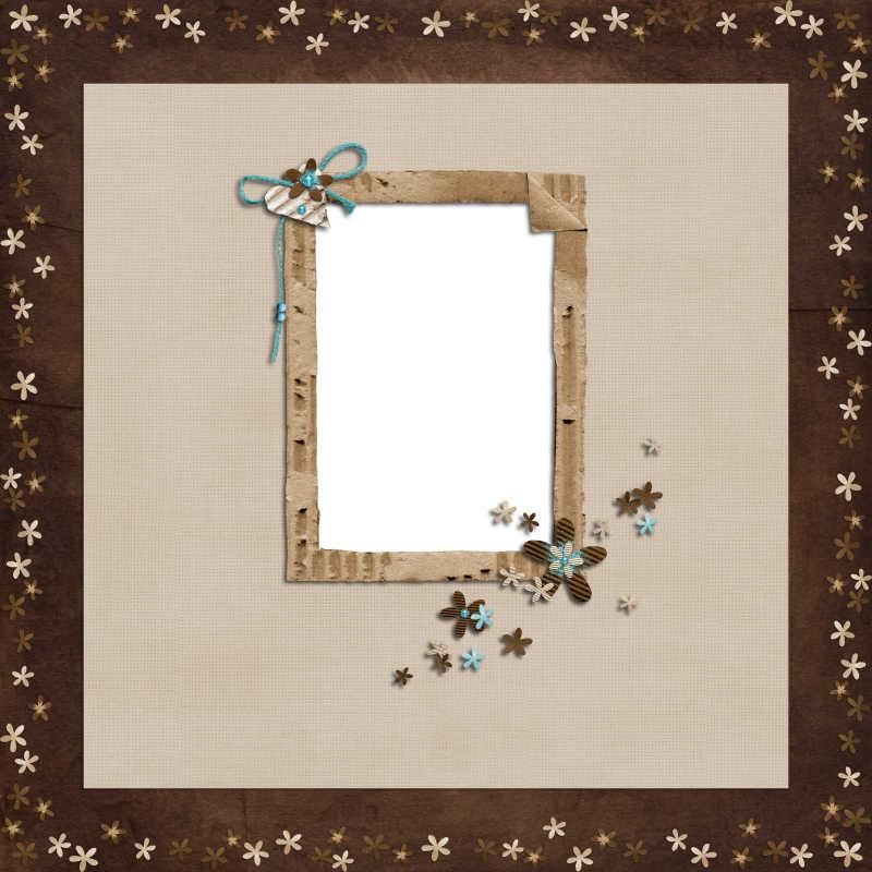 棕色背景上的简单亚麻色装饰框架