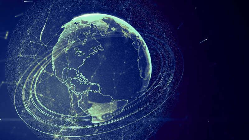 黑色背景下的淡蓝色虚拟行星地球的3d插图