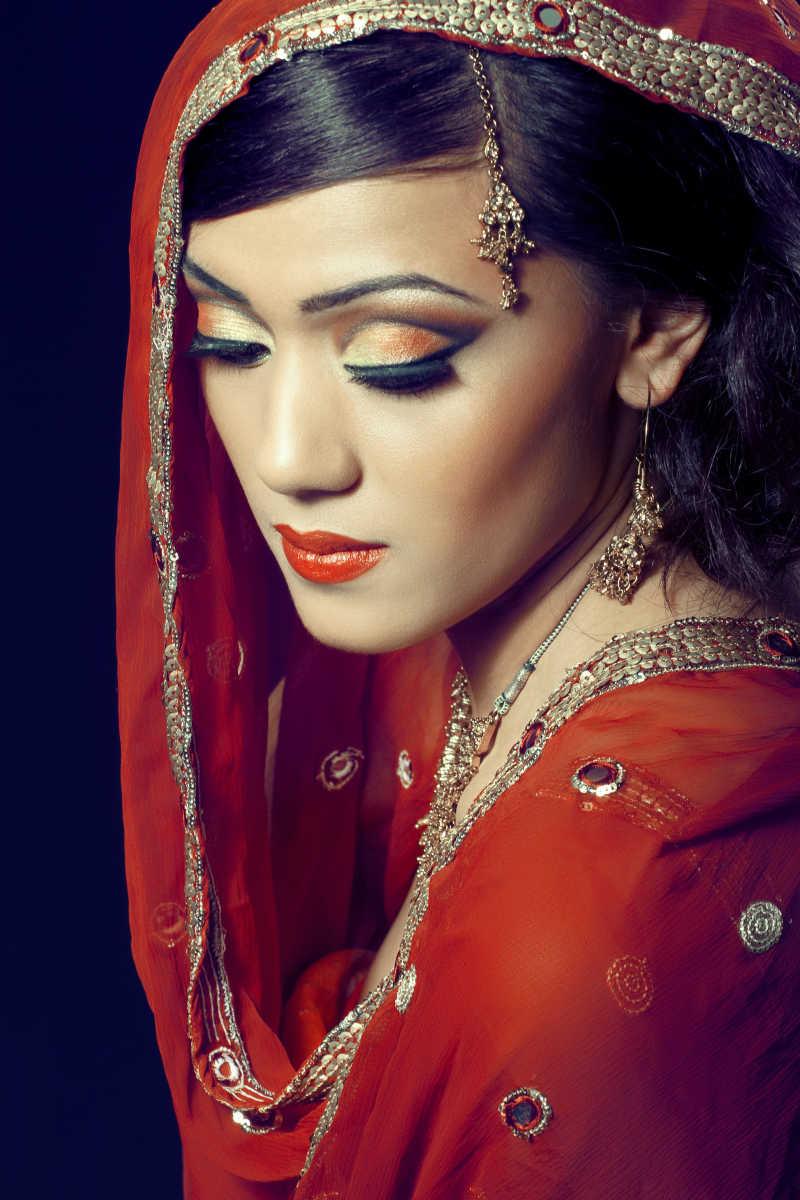 印度美女肖像图片素材_戴面纱的中东美女照片_jpg格式