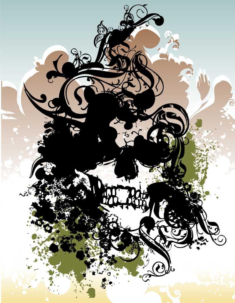 朋克摇滚骷髅概念