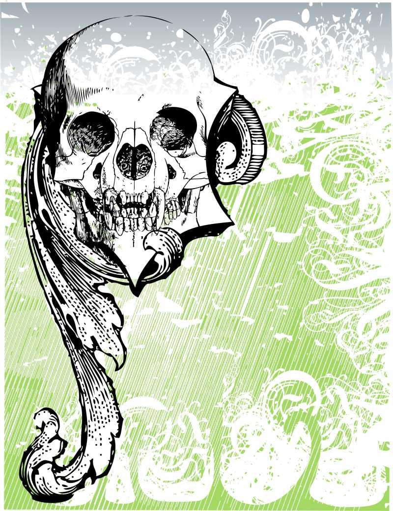 邪恶骷髅插画概念