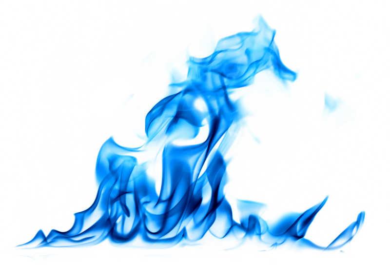白色背景下的蓝色火焰