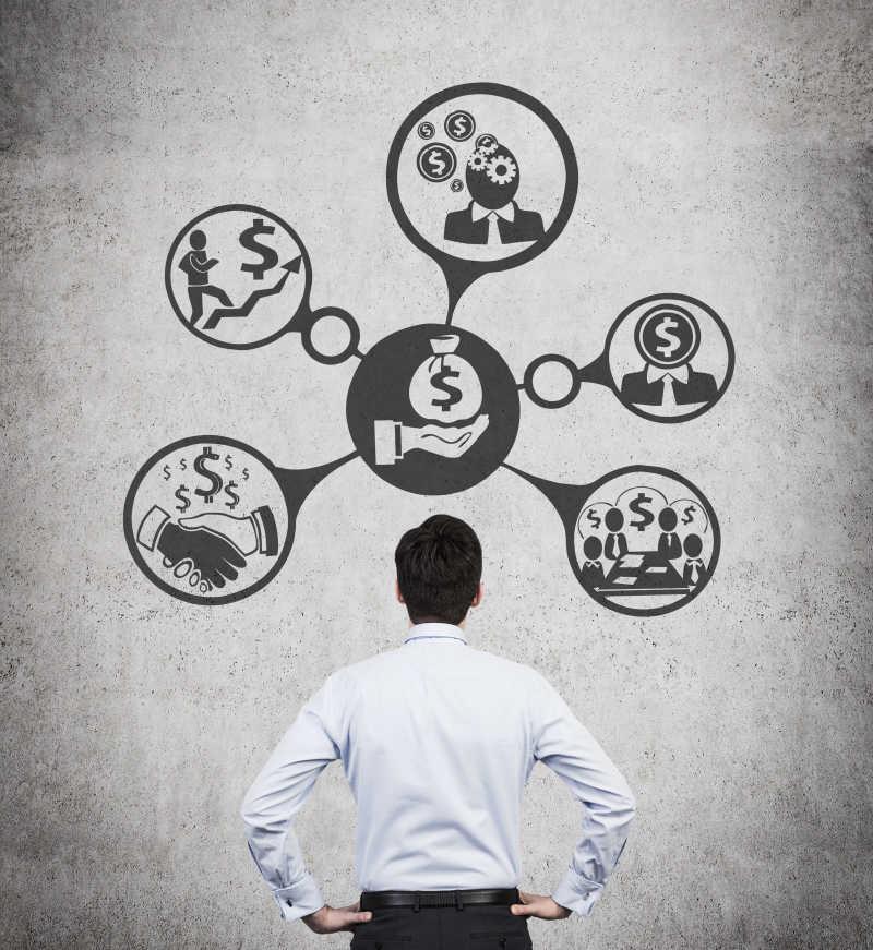 发明商业投资计划的商人