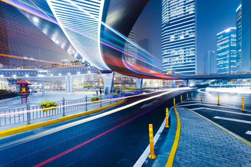 现代建筑光迹摄影