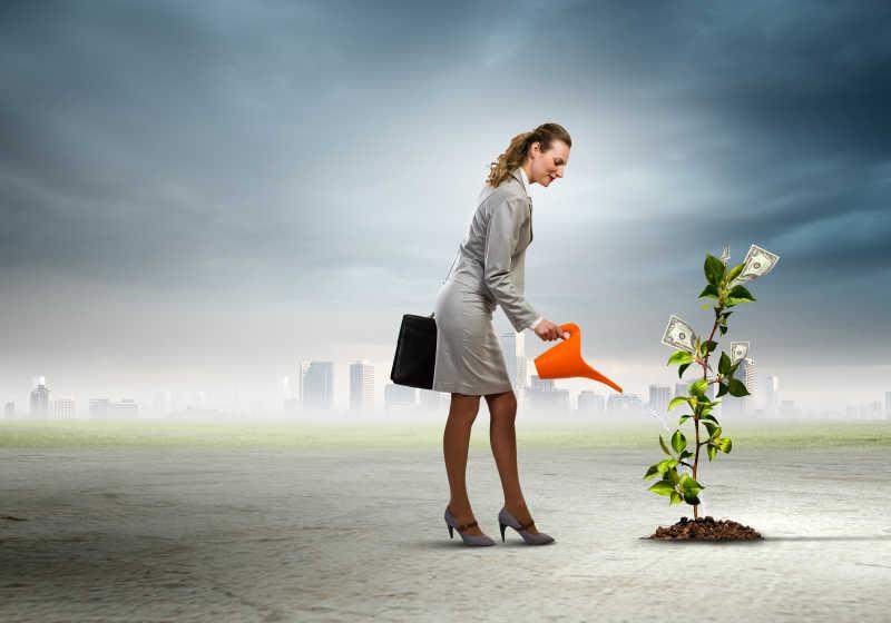 商业妇女浇钱树的概念