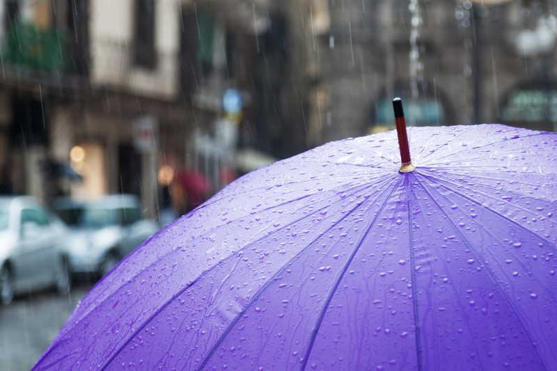 雨滴落在紫色的雨伞上
