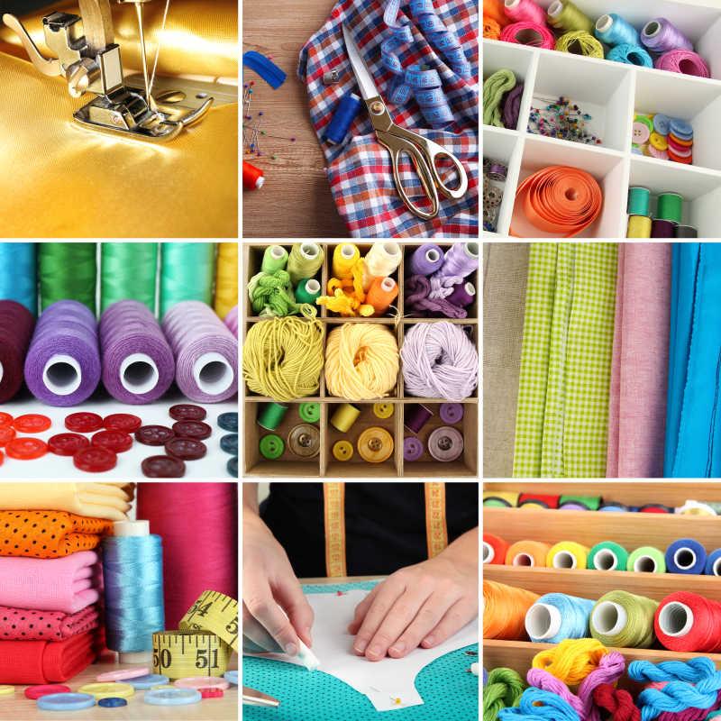 各种各样的缝纫工具组成的九宫格拼图