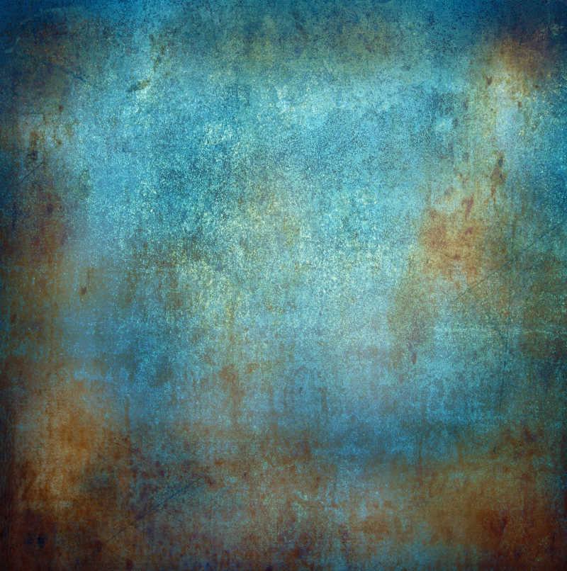 脏兮兮的蓝色背景和锈迹