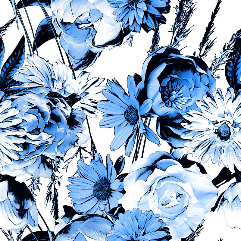 矢量的棕色花卉图案背景图片素材_手绘风格棕色花卉
