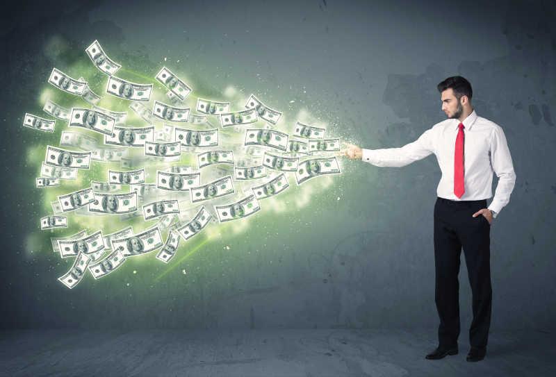 手掌里飞出大量钞票的商人概念