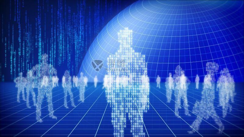 蓝色背景中的地球人类数字概念