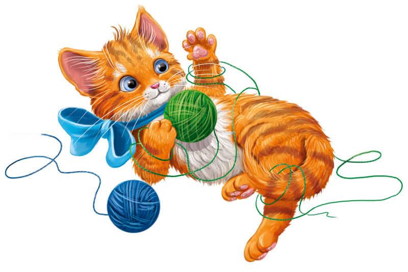 小猫玩球图片_猫的卡通形象图片-玩毛线球的小猫素材-高清图片-摄影照片-寻图 ...