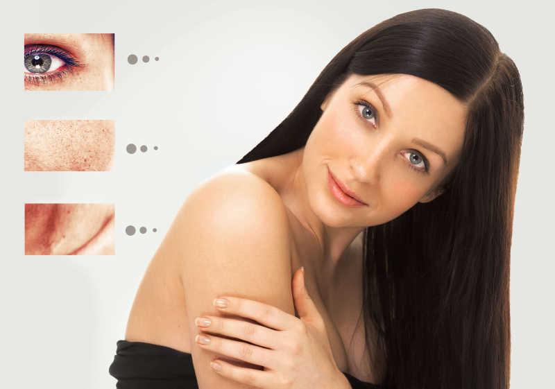 黑色长发女子的皮肤老化问题
