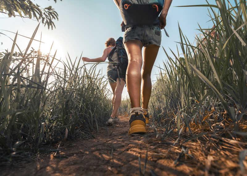 徒步旅行者背影和背包
