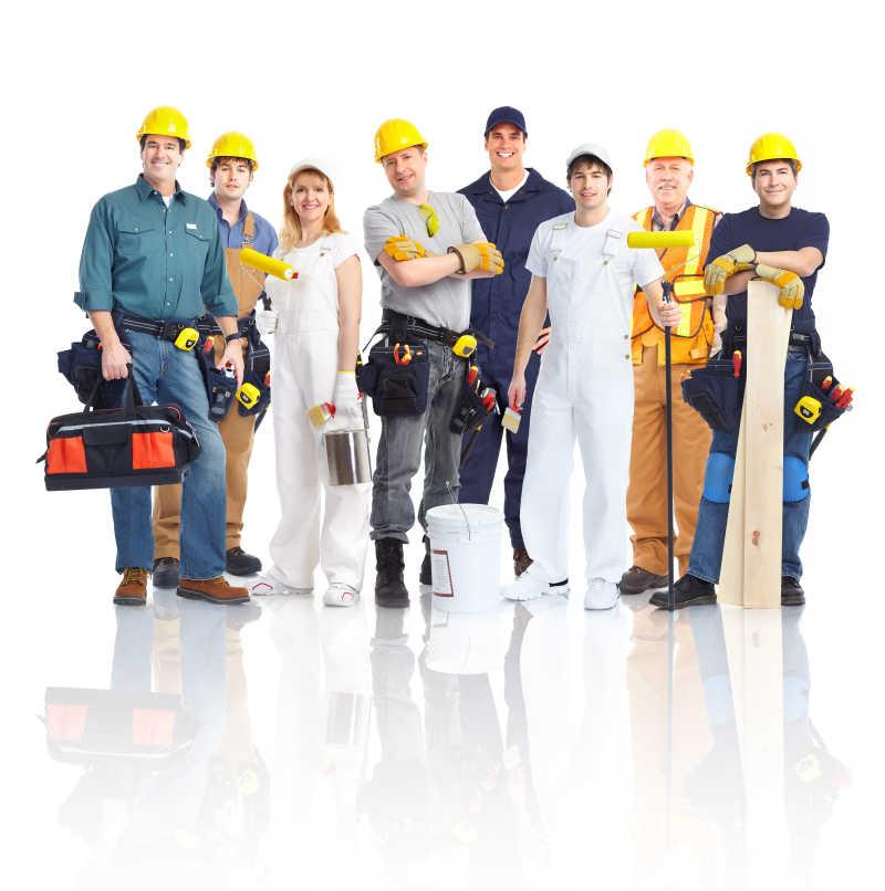 戴着头盔的建筑工人-未来软件园素材