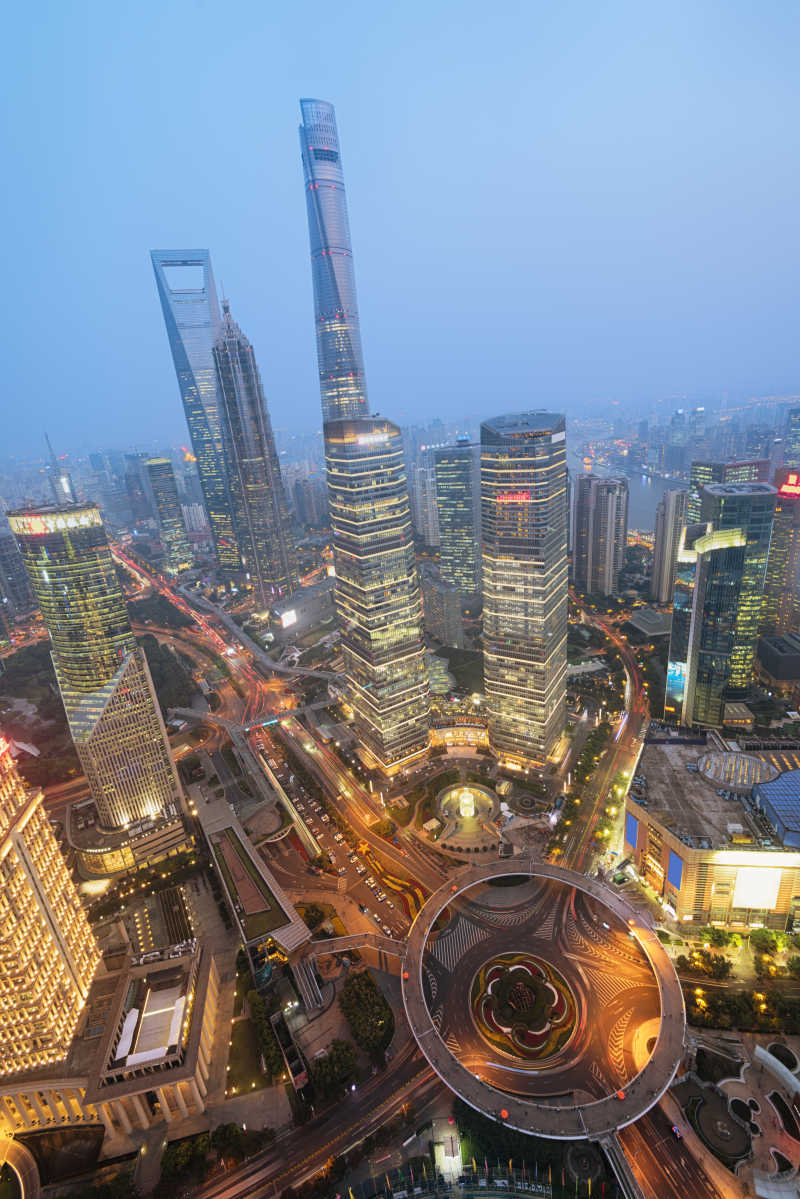 俯视中国上海的陆家嘴区