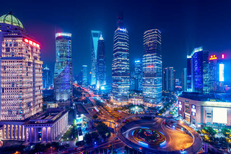 上海陆家嘴区的夜景