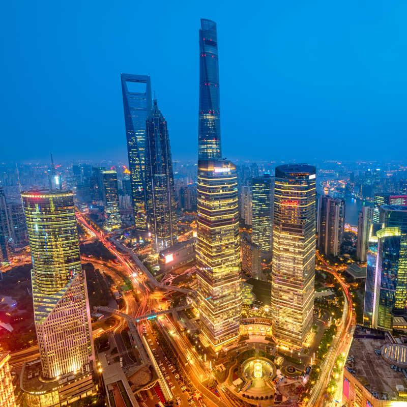 上海陆家嘴新金融区的夜景