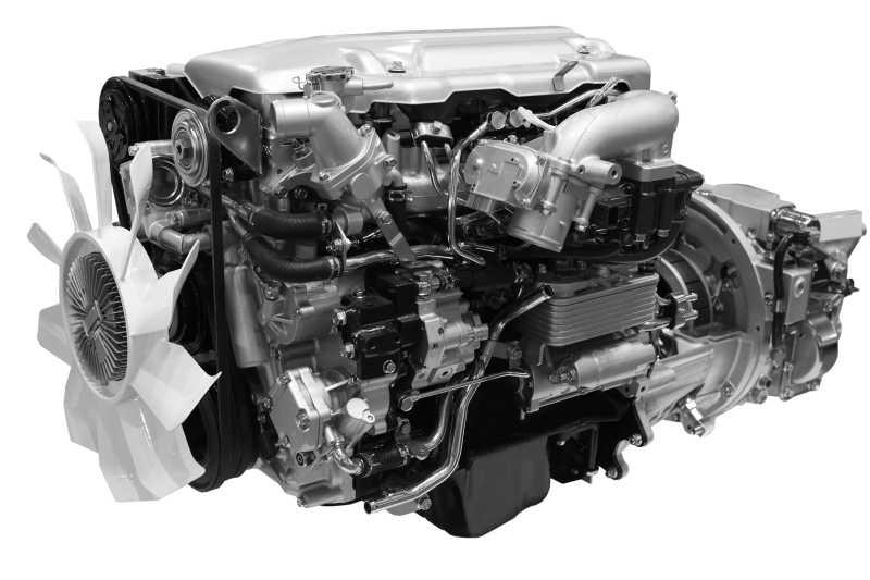 白色背景下的柴油发动机构造