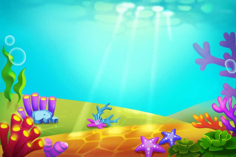 阳光下的海洋图片_阳光照进海底的美丽风景