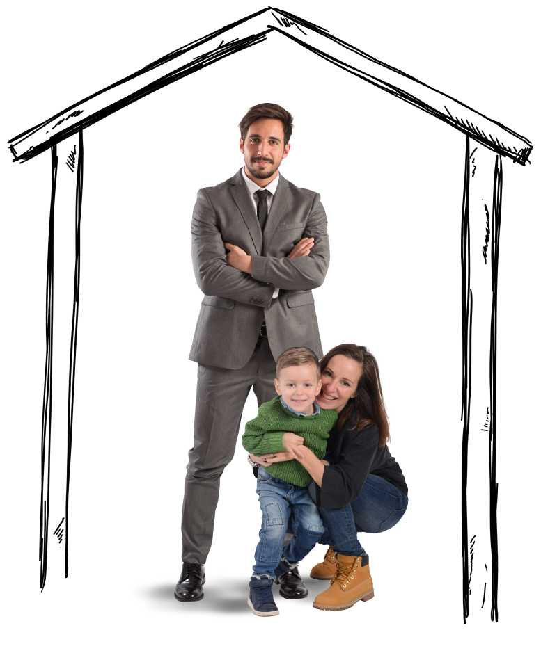 房子画像里的幸福家庭