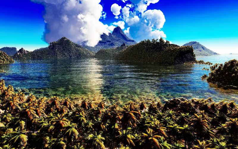 热带岛屿的海底世界图片素材_美丽的热带岛屿度假村