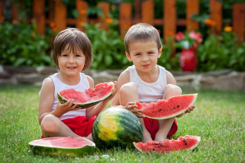 两个小男孩在花园里吃西瓜