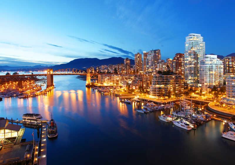 美丽的加拿大温哥华夜景