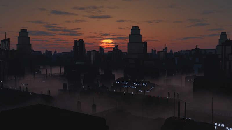 黄昏下的未来城市景观