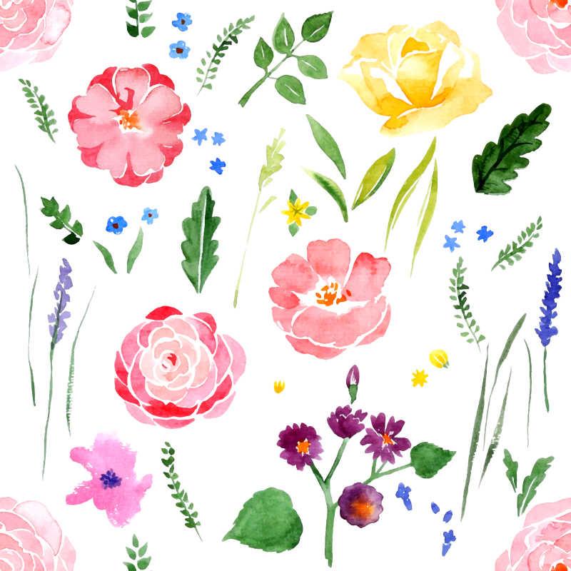 漂亮的水彩花卉底纹