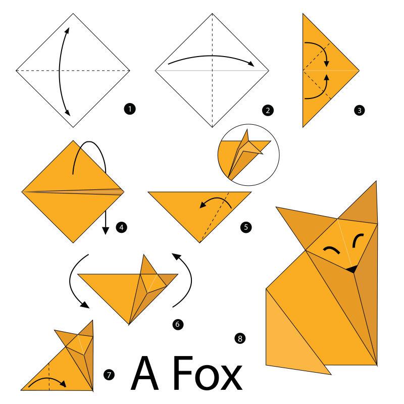 矢量折纸狐狸的步骤图解