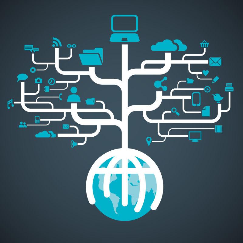 全球网络世界图标树矢量背景