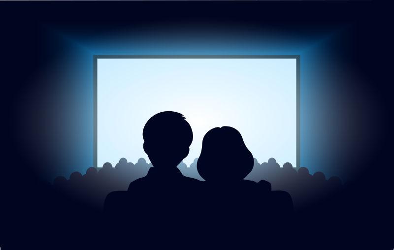 电影院看电影的情侣矢量剪影