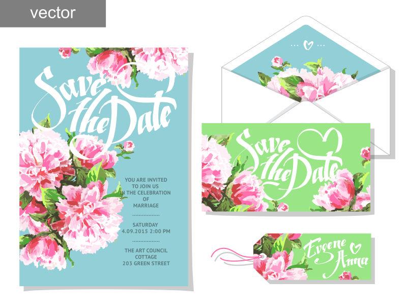 矢量手绘花卉图案的邀请卡设计