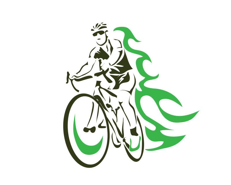 自行车运动员矢量插图设计