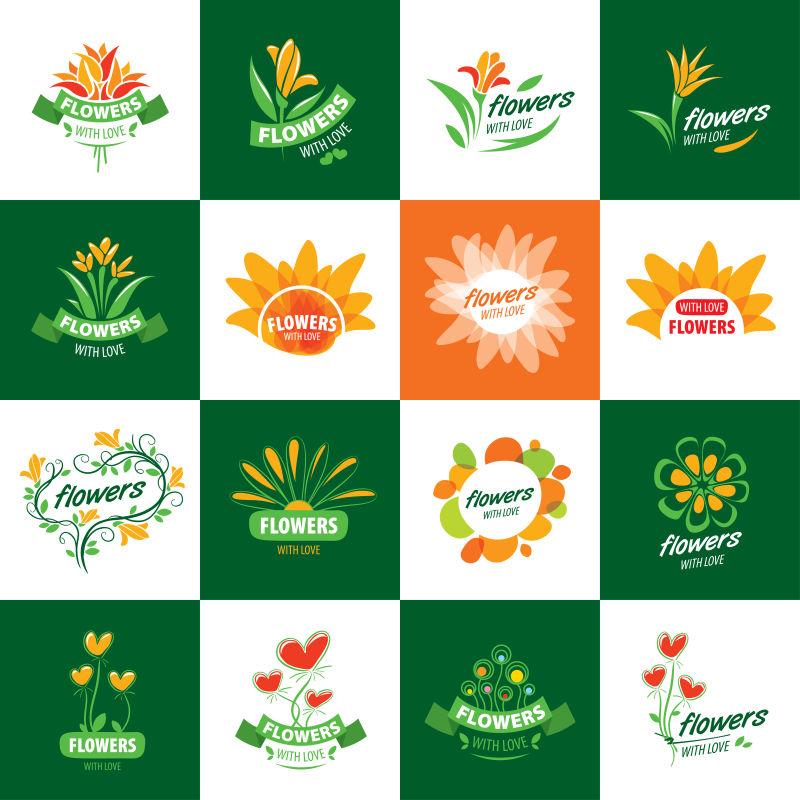 矢量鲜花创意图标设计图片