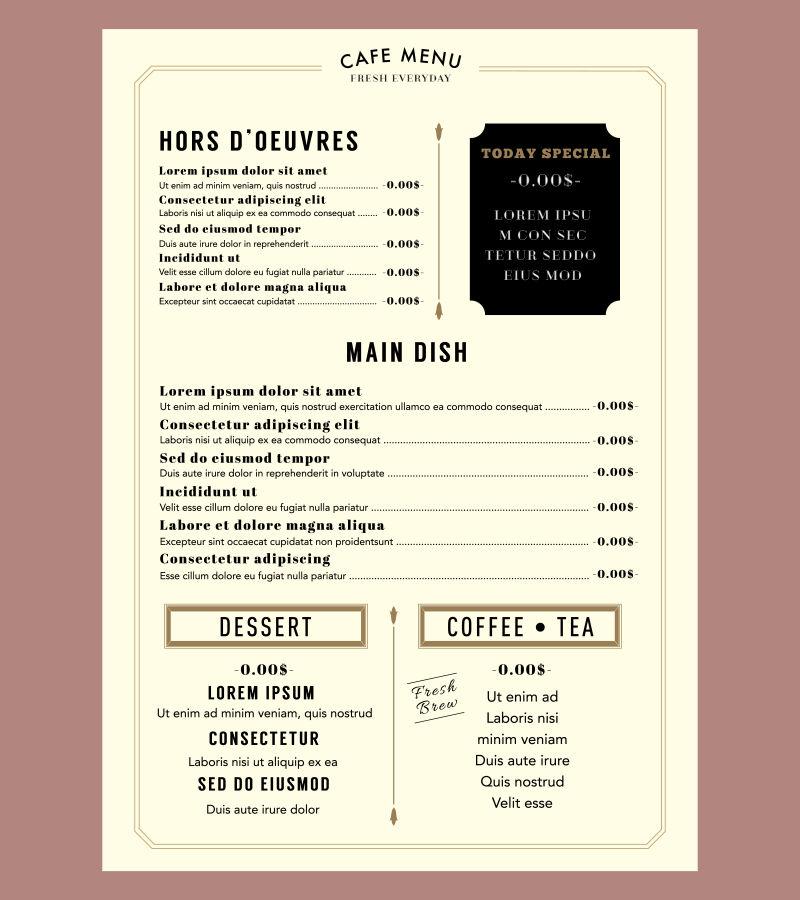 咖啡厅矢量菜单设计