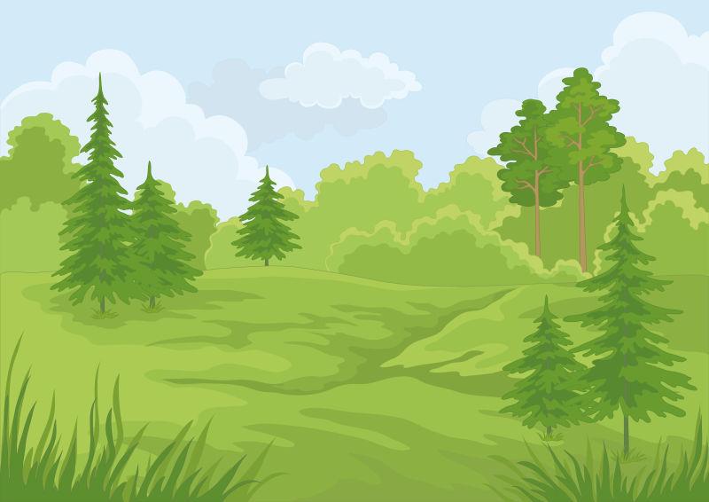 蓝天下的森林景观矢量插图背景
