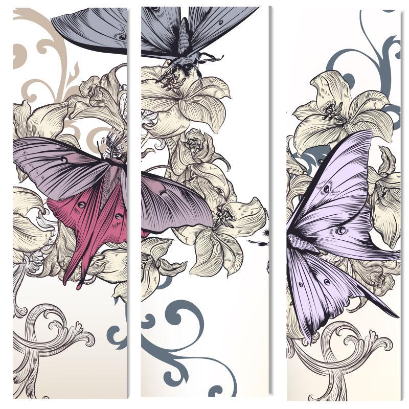 手绘的花蝶和蝴蝶花矢量背景