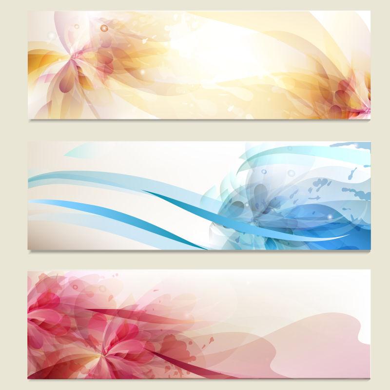 矢量彩色花卉图案的卡片
