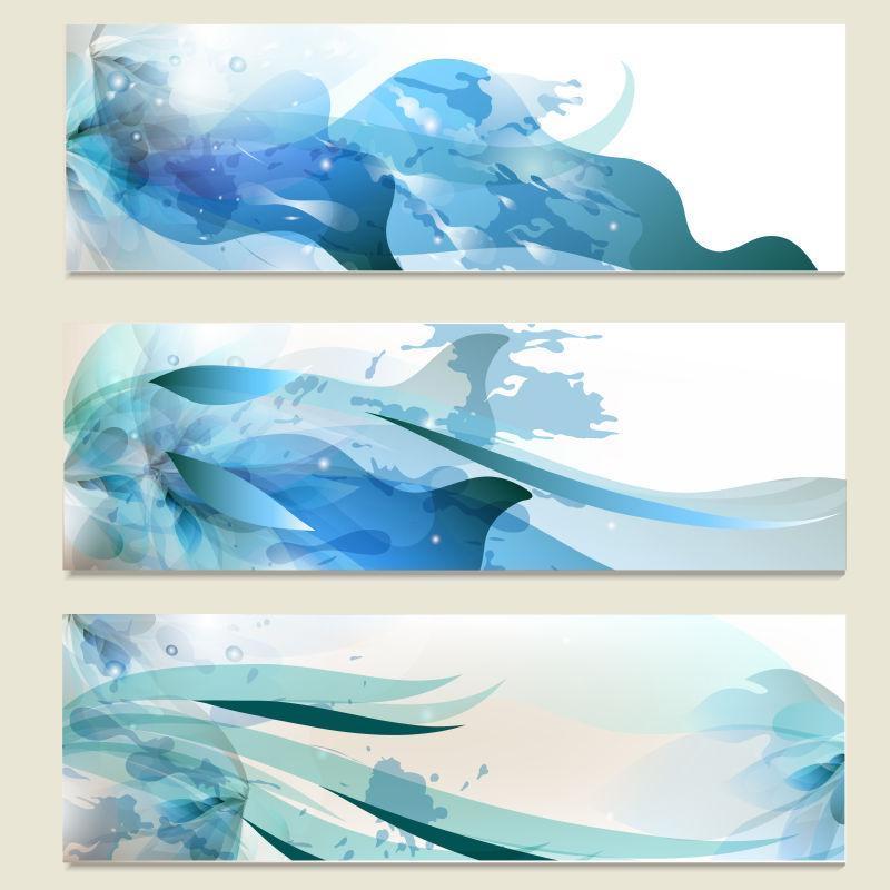 抽象的蓝色水墨矢量背景设计